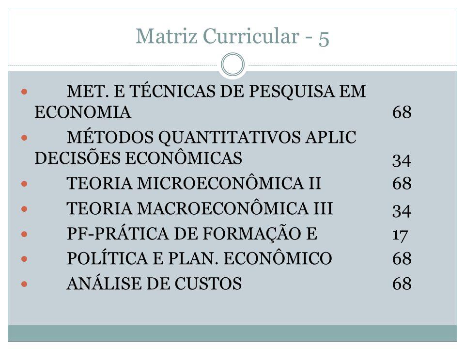 Matriz Curricular - 5 MET. E TÉCNICAS DE PESQUISA EM ECONOMIA 68