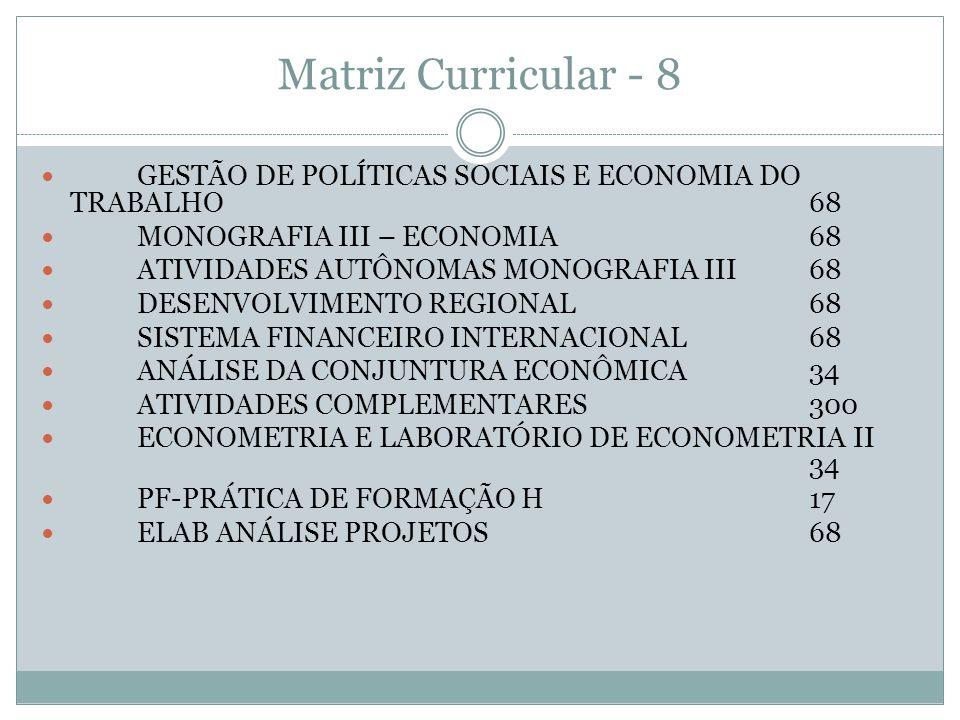 Matriz Curricular - 8 GESTÃO DE POLÍTICAS SOCIAIS E ECONOMIA DO TRABALHO 68. MONOGRAFIA III – ECONOMIA 68.