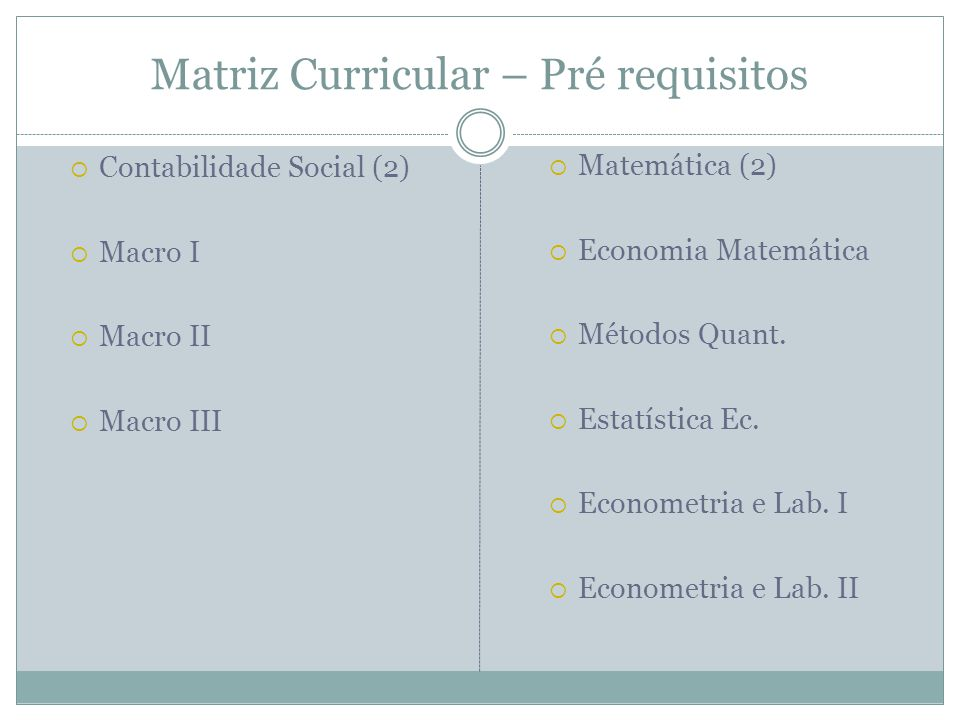 Matriz Curricular – Pré requisitos