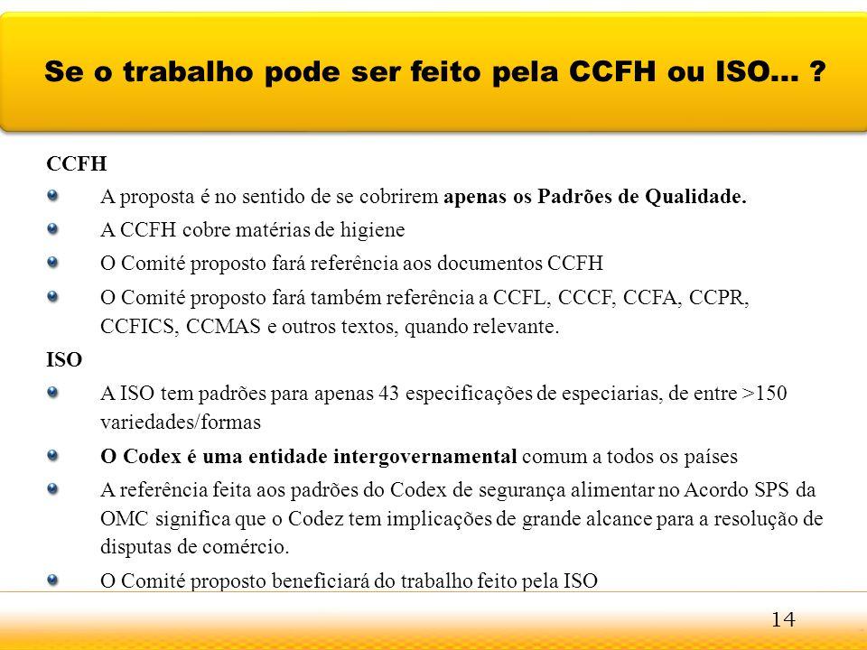 Se o trabalho pode ser feito pela CCFH ou ISO...