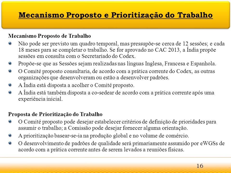 Mecanismo Proposto e Prioritização do Trabalho