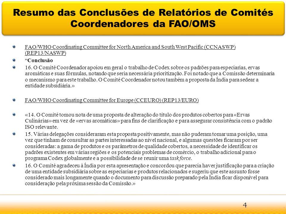 Resumo das Conclusões de Relatórios de Comités Coordenadores da FAO/OMS