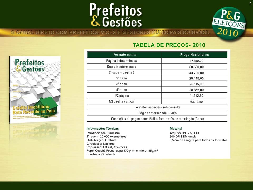 2478 TABELA DE PREÇOS- 2010