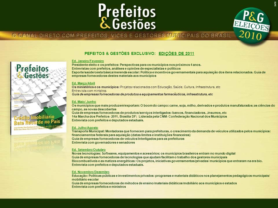 PEFEITOS & GESTÕES EXCLUSIVO: EDIÇÕES DE 2011