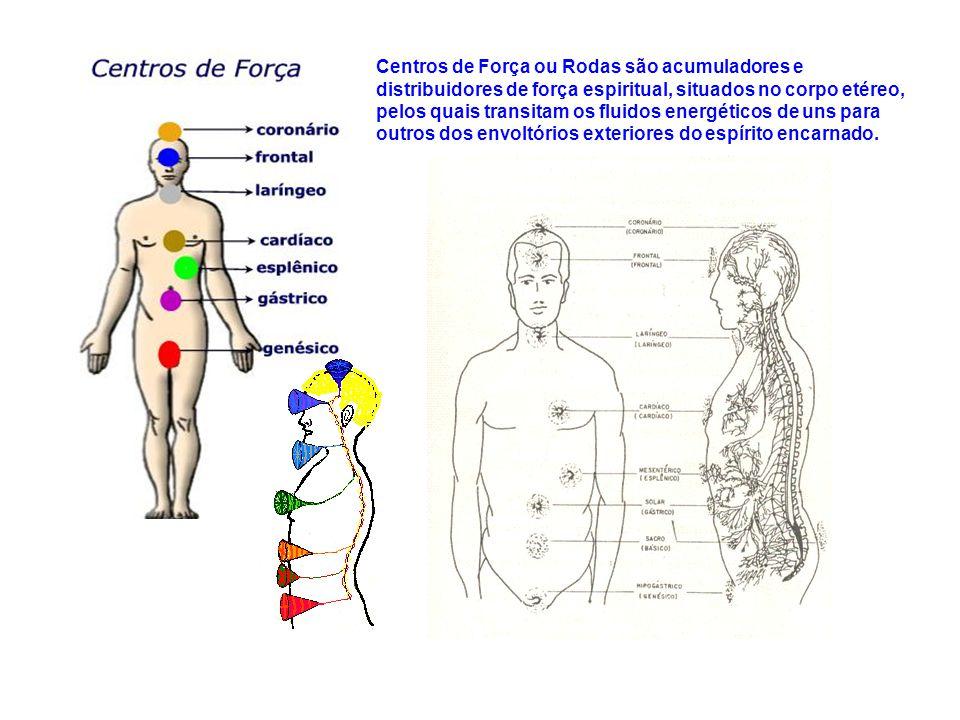 Centros de Força ou Rodas são acumuladores e distribuidores de força espiritual, situados no corpo etéreo, pelos quais transitam os fluidos energéticos de uns para outros dos envoltórios exteriores do espírito encarnado.
