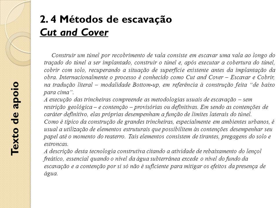 2. 4 Métodos de escavação Cut and Cover Texto de apoio