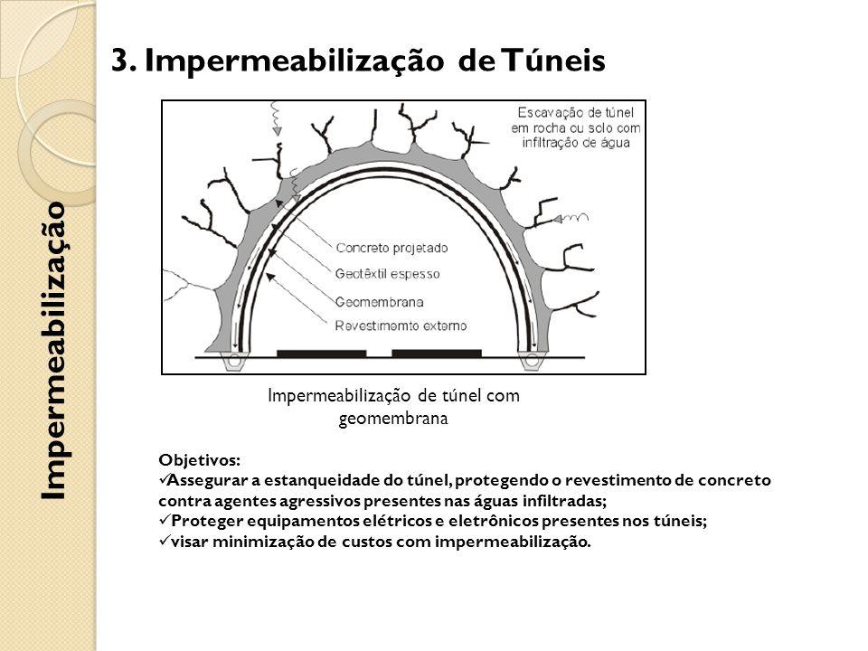 Impermeabilização de túnel com geomembrana