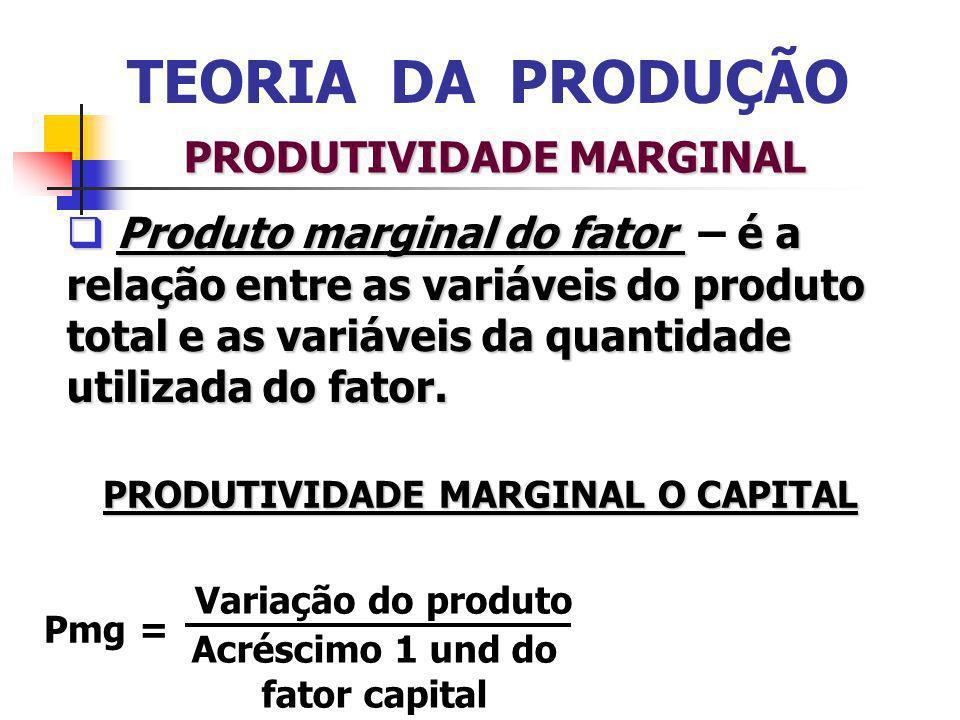 TEORIA DA PRODUÇÃO PRODUTIVIDADE MARGINAL