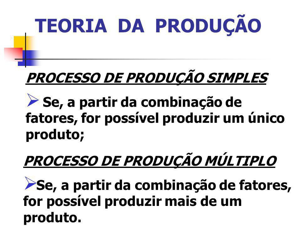 TEORIA DA PRODUÇÃO PROCESSO DE PRODUÇÃO SIMPLES