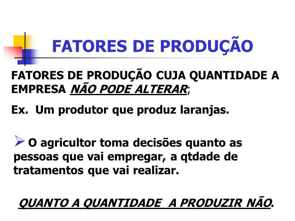 FATORES DE PRODUÇÃO FATORES DE PRODUÇÃO CUJA QUANTIDADE A EMPRESA NÃO PODE ALTERAR; Ex. Um produtor que produz laranjas.