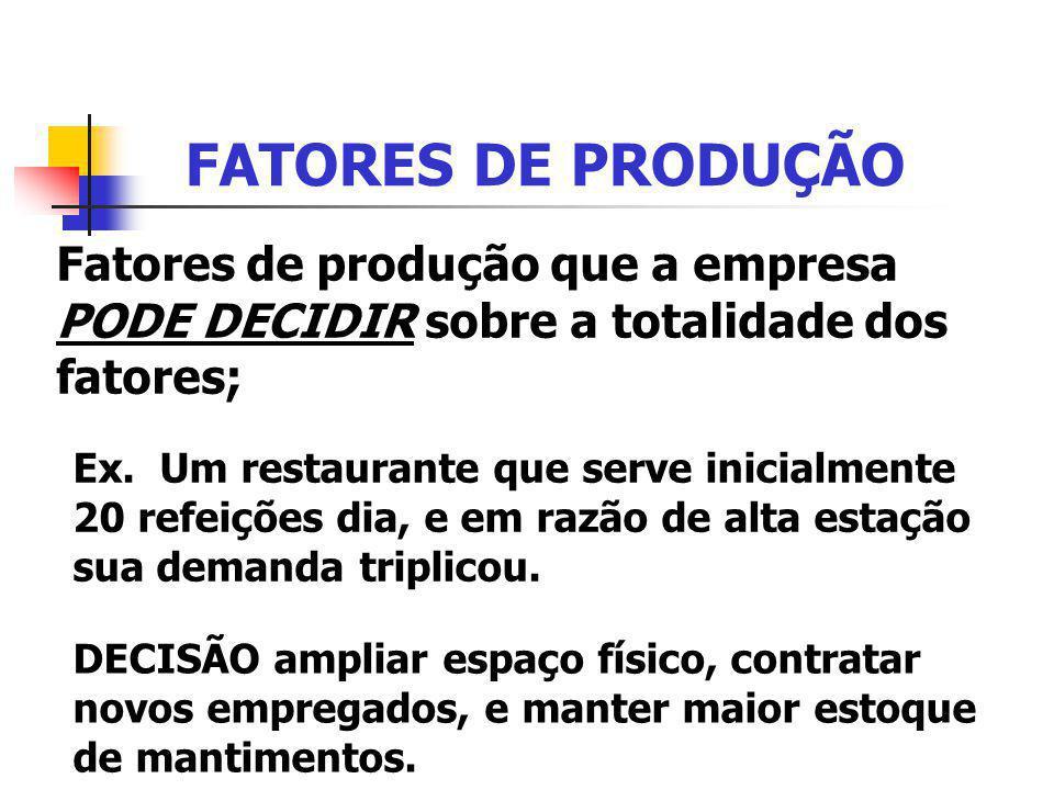 FATORES DE PRODUÇÃO Fatores de produção que a empresa PODE DECIDIR sobre a totalidade dos fatores;