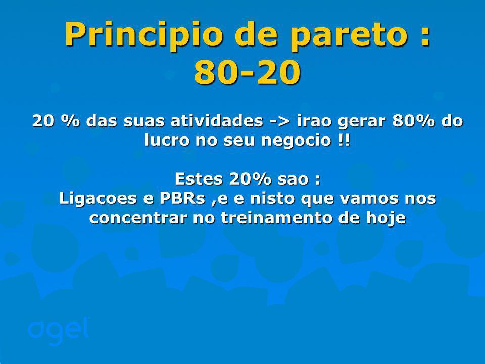 Principio de pareto : 80-20. 20 % das suas atividades -> irao gerar 80% do lucro no seu negocio !!