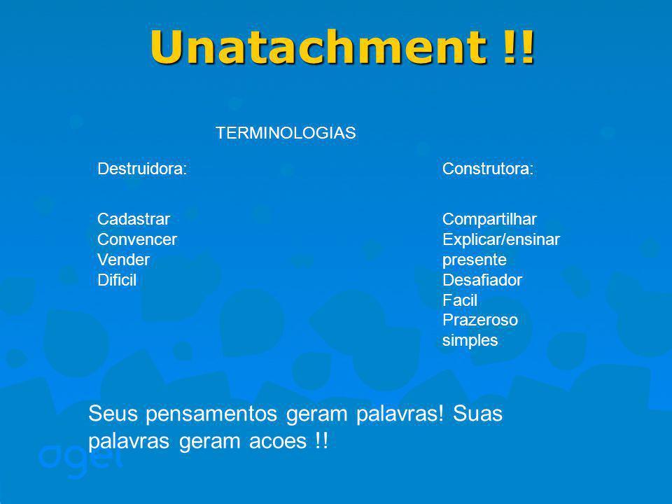 Unatachment !! TERMINOLOGIAS. Destruidora: Cadastrar. Convencer. Vender. Dificil. Construtora: