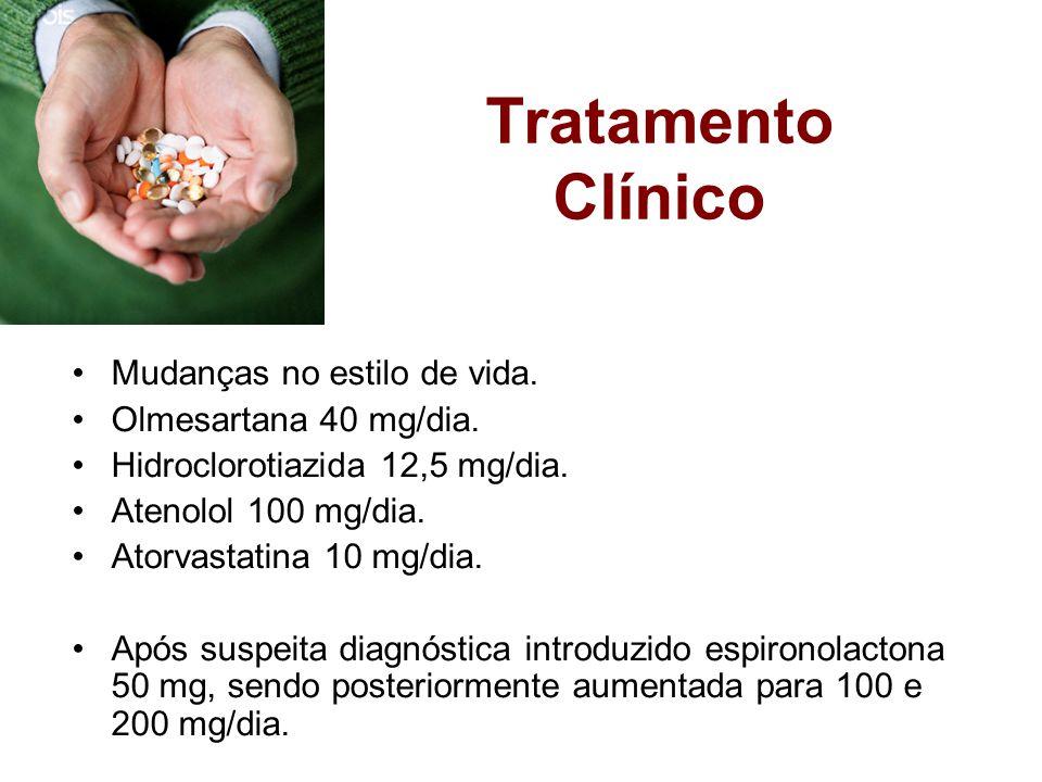 Tratamento Clínico Mudanças no estilo de vida. Olmesartana 40 mg/dia.