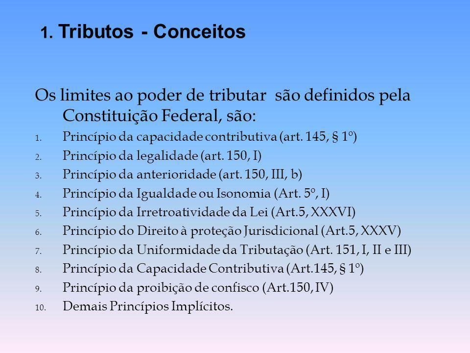 1. Tributos - Conceitos Os limites ao poder de tributar são definidos pela Constituição Federal, são: