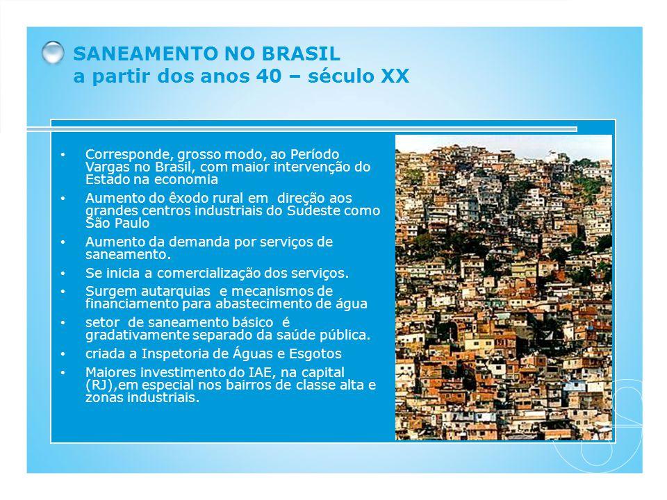 SANEAMENTO NO BRASIL a partir dos anos 40 – século XX
