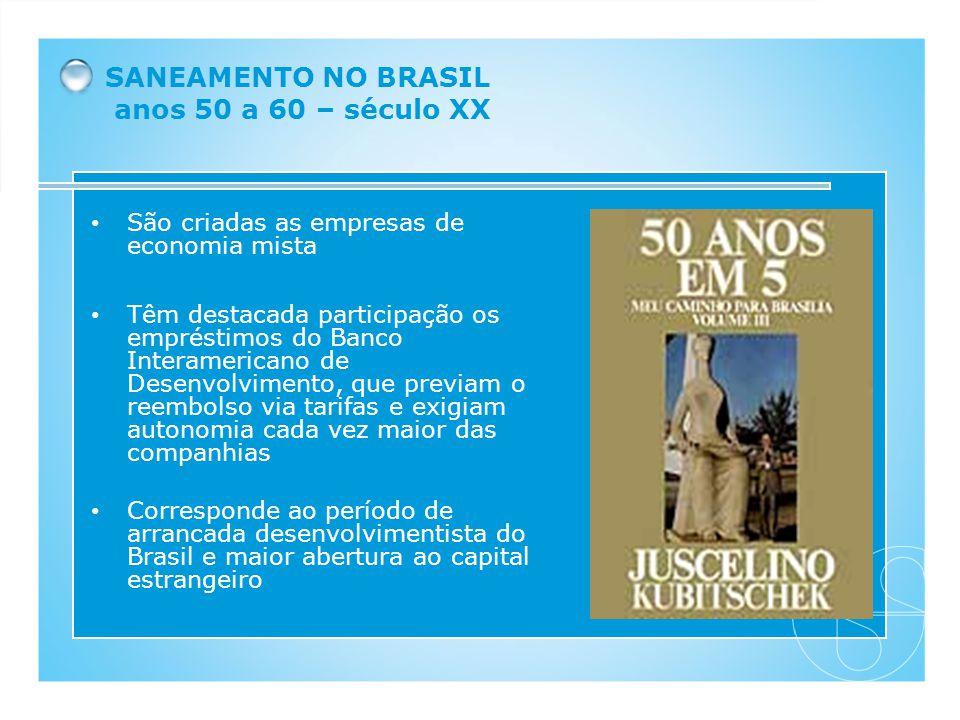 SANEAMENTO NO BRASIL anos 50 a 60 – século XX