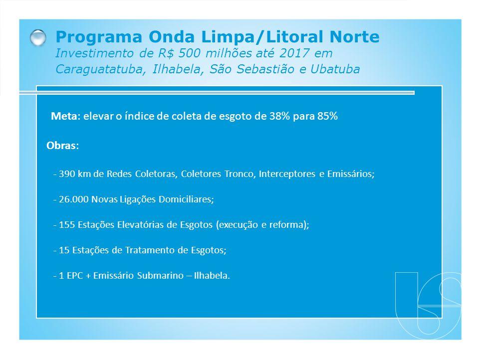Programa Onda Limpa/Litoral Norte Investimento de R$ 500 milhões até 2017 em