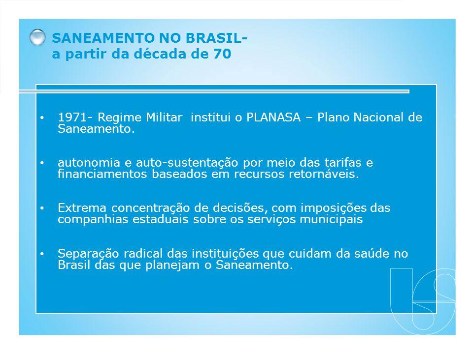 SANEAMENTO NO BRASIL- a partir da década de 70