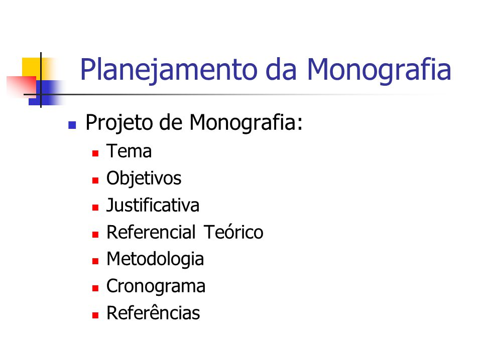 Planejamento da Monografia
