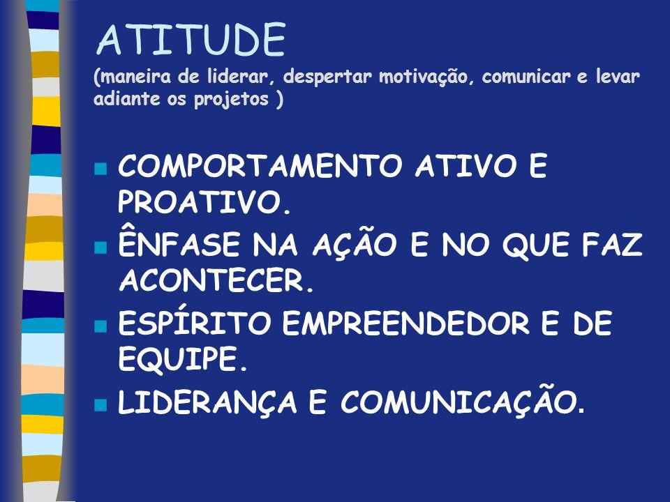 ATITUDE (maneira de liderar, despertar motivação, comunicar e levar adiante os projetos )