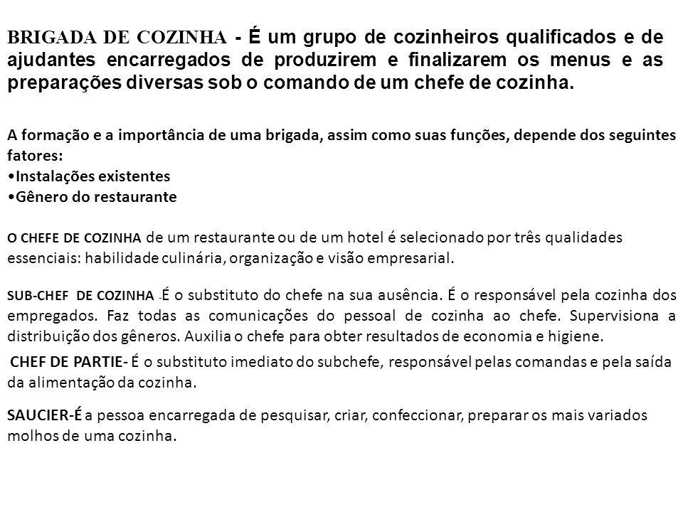 BRIGADA DE COZINHA - É um grupo de cozinheiros qualificados e de ajudantes encarregados de produzirem e finalizarem os menus e as preparações diversas sob o comando de um chefe de cozinha.