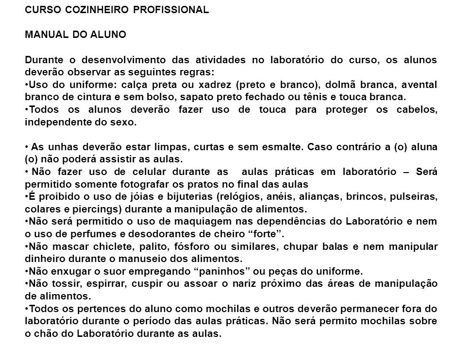 CURSO COZINHEIRO PROFISSIONAL