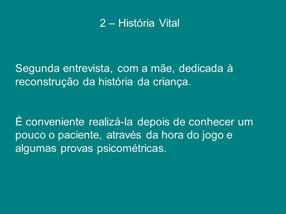 2 – História Vital Segunda entrevista, com a mãe, dedicada à reconstrução da história da criança.