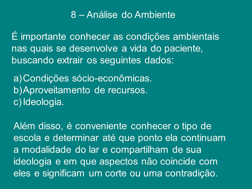 8 – Análise do Ambiente