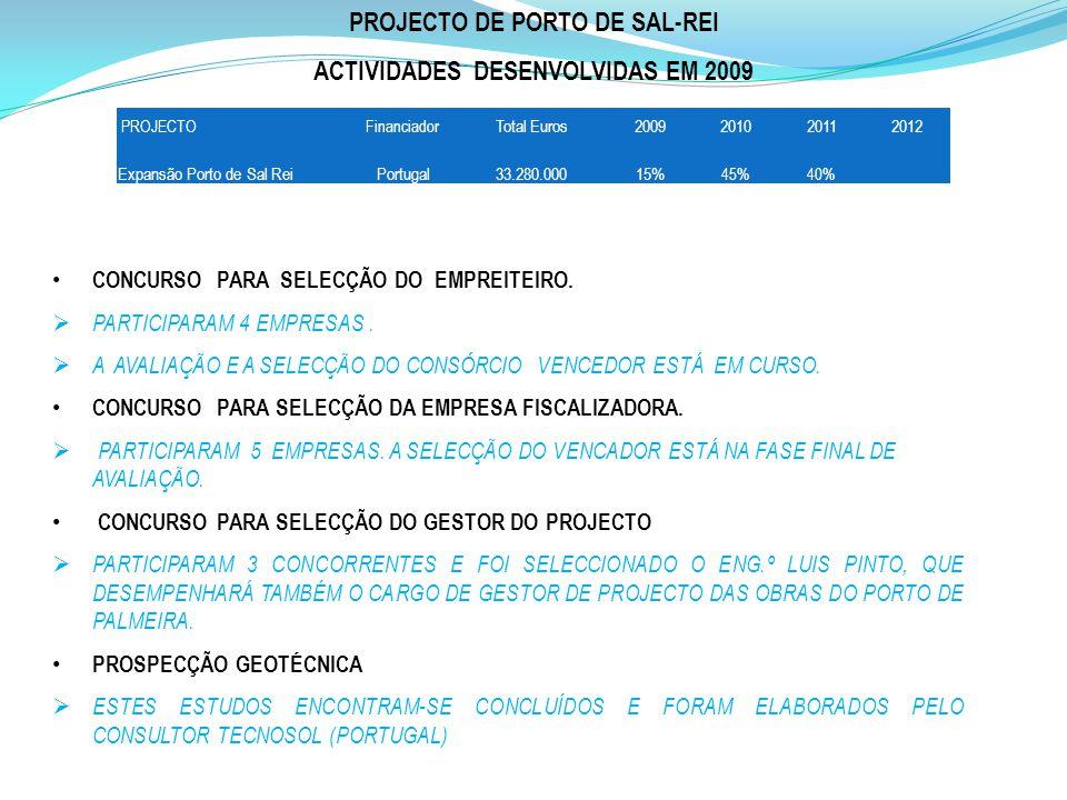 PROJECTO DE PORTO DE SAL-REI ACTIVIDADES DESENVOLVIDAS EM 2009