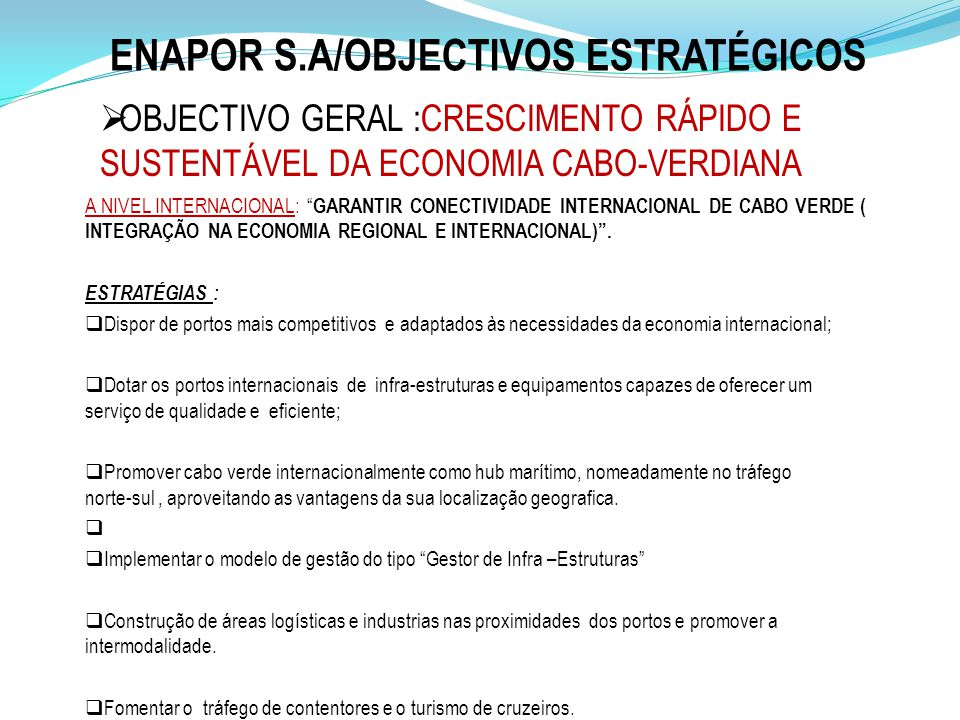 ENAPOR S.A/OBJECTIVOS ESTRATÉGICOS
