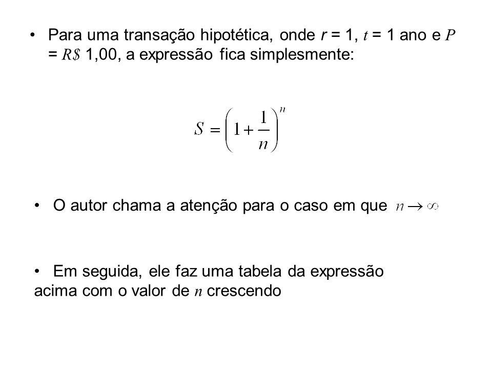 Para uma transação hipotética, onde r = 1, t = 1 ano e P = R$ 1,00, a expressão fica simplesmente: