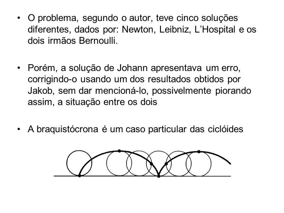 O problema, segundo o autor, teve cinco soluções diferentes, dados por: Newton, Leibniz, L'Hospital e os dois irmãos Bernoulli.