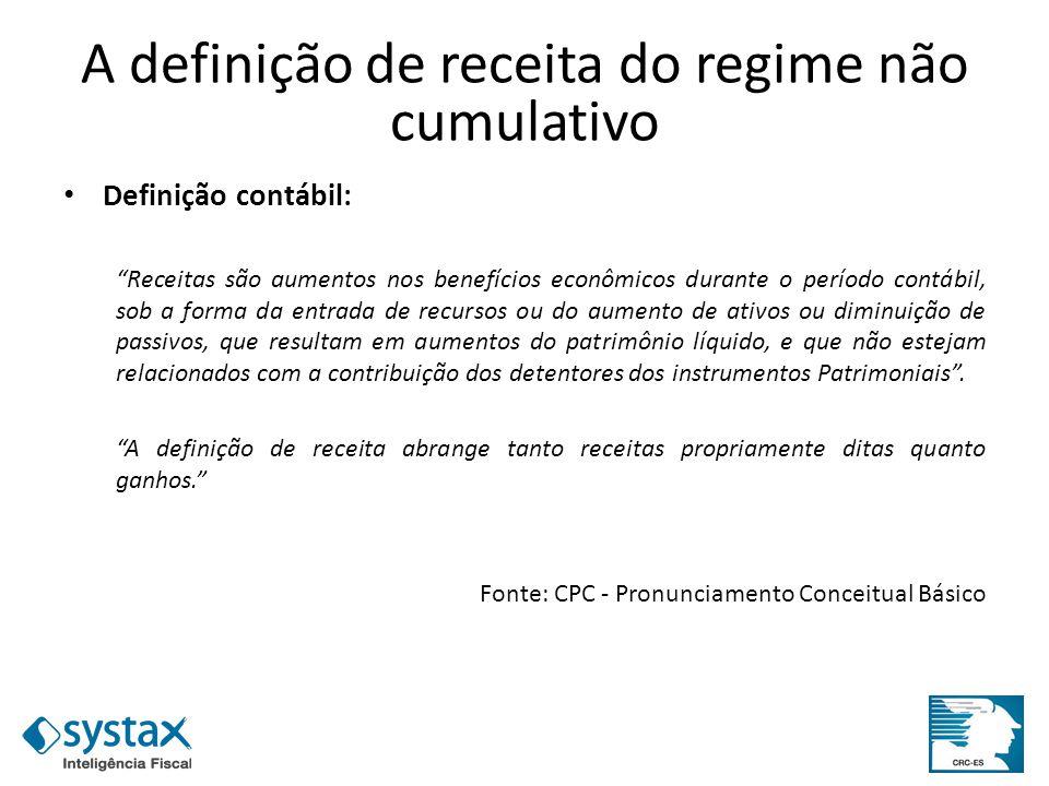 A definição de receita do regime não cumulativo