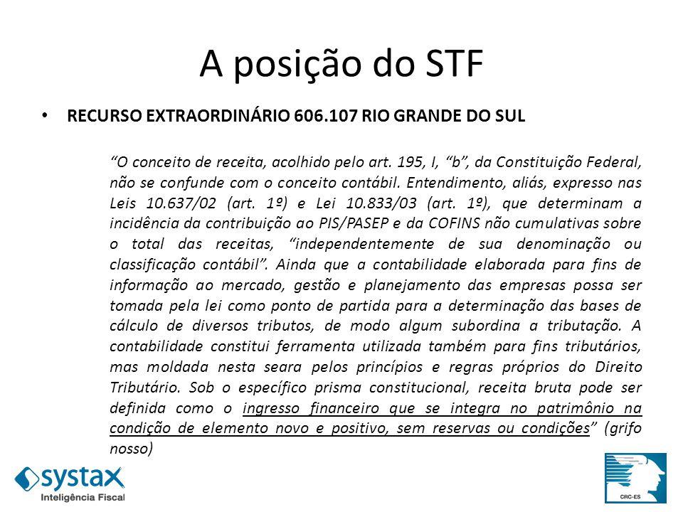 A posição do STF RECURSO EXTRAORDINÁRIO 606.107 RIO GRANDE DO SUL