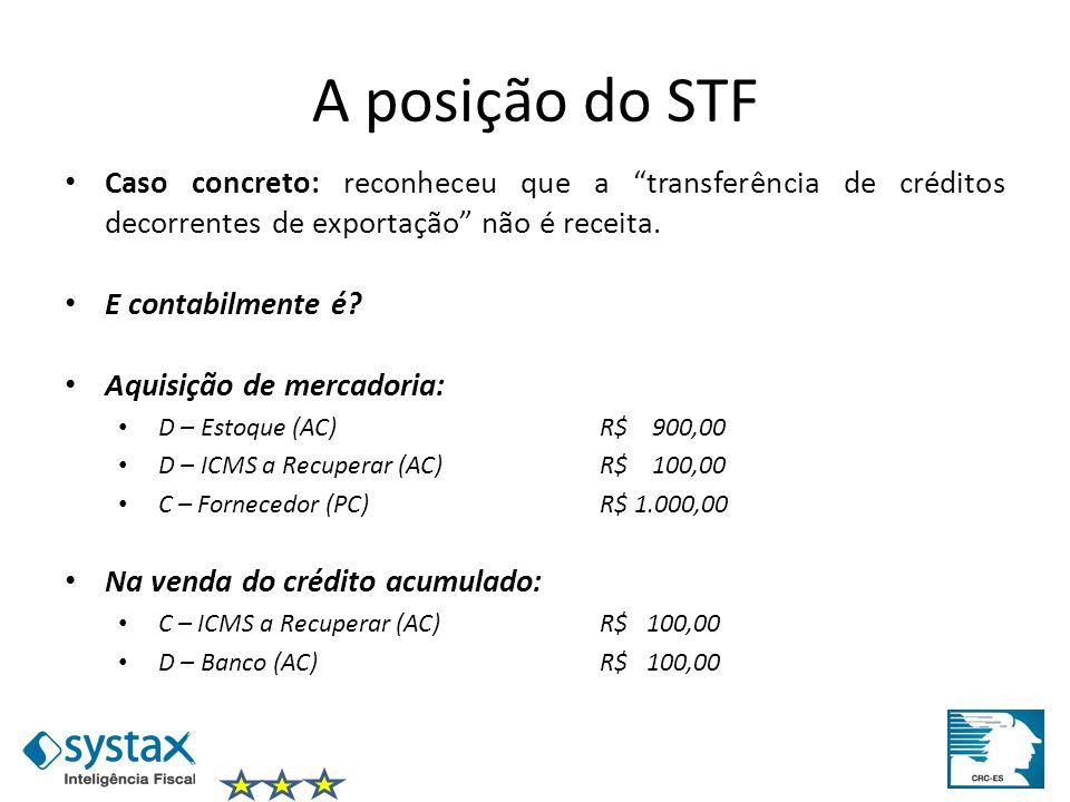 A posição do STF Caso concreto: reconheceu que a transferência de créditos decorrentes de exportação não é receita.