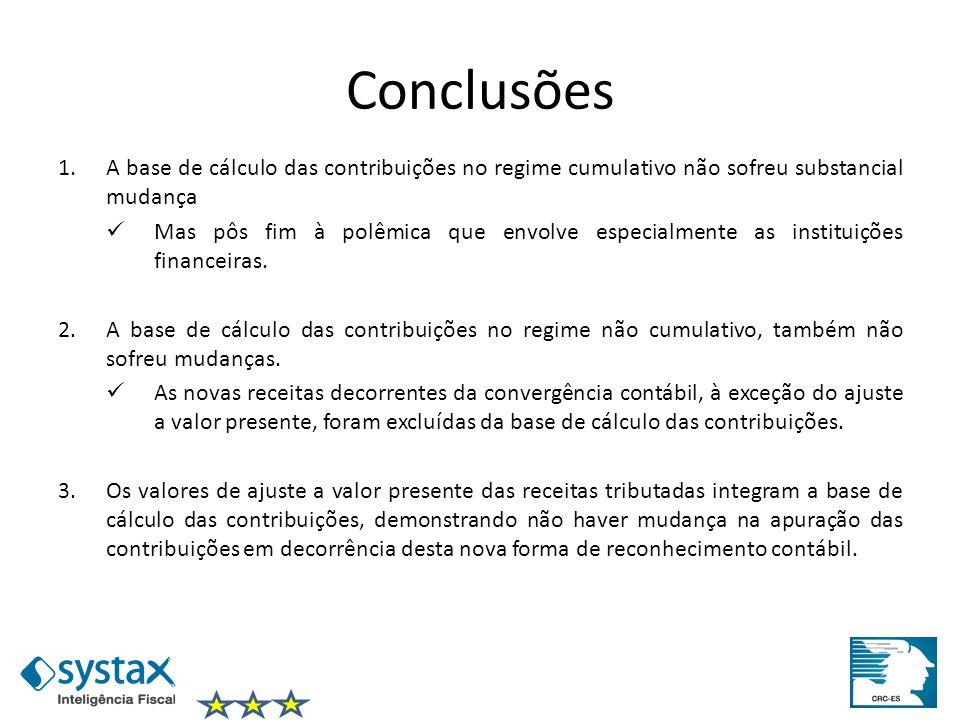 Conclusões A base de cálculo das contribuições no regime cumulativo não sofreu substancial mudança.