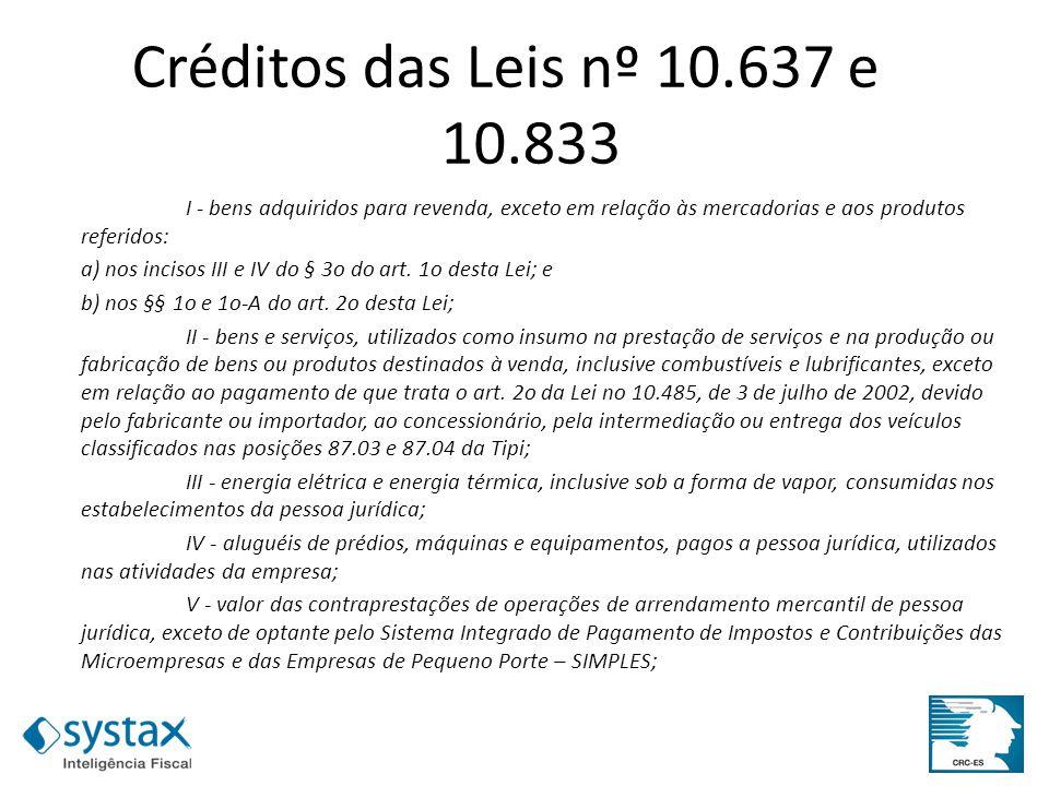 Créditos das Leis nº 10.637 e 10.833 I - bens adquiridos para revenda, exceto em relação às mercadorias e aos produtos referidos:
