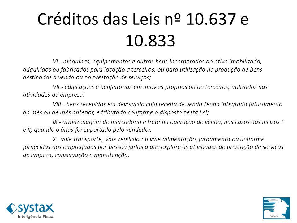 Créditos das Leis nº 10.637 e 10.833