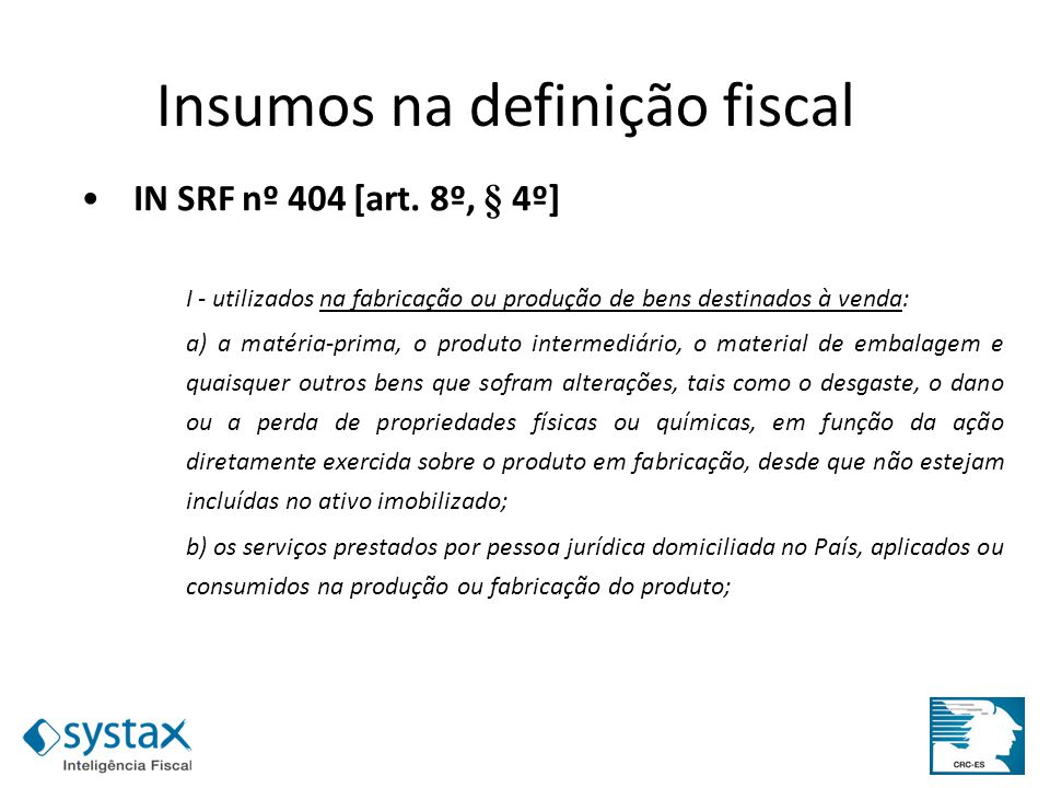 Insumos na definição fiscal