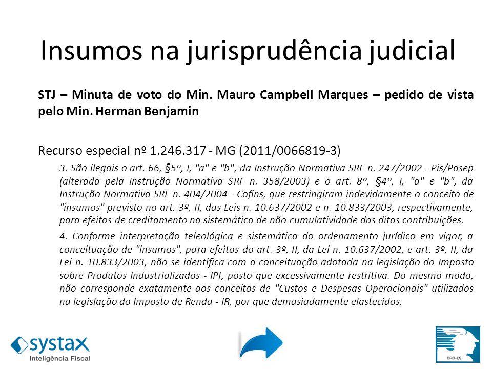 Insumos na jurisprudência judicial Insumos na jurisprudência judicial