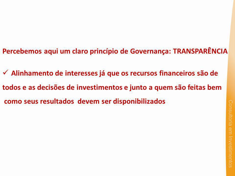 Percebemos aqui um claro princípio de Governança: TRANSPARÊNCIA