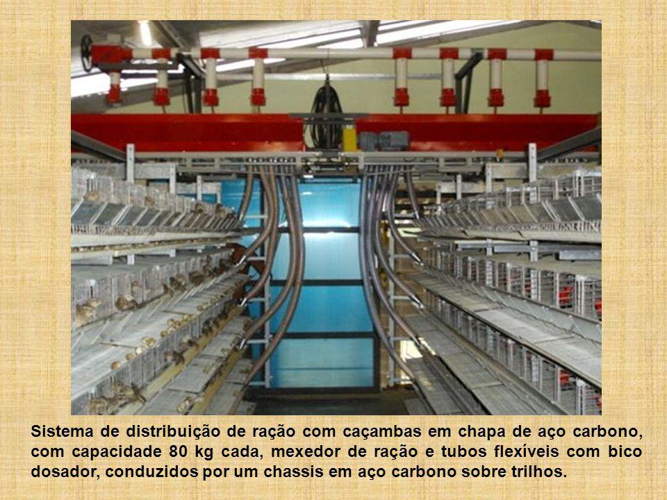 Sistema de distribuição de ração com caçambas em chapa de aço carbono, com capacidade 80 kg cada, mexedor de ração e tubos flexíveis com bico dosador, conduzidos por um chassis em aço carbono sobre trilhos.