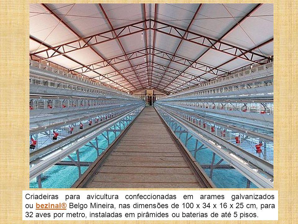 Criadeiras para avicultura confeccionadas em arames galvanizados ou bezinal® Belgo Mineira, nas dimensões de 100 x 34 x 16 x 25 cm, para 32 aves por metro, instaladas em pirâmides ou baterias de até 5 pisos.