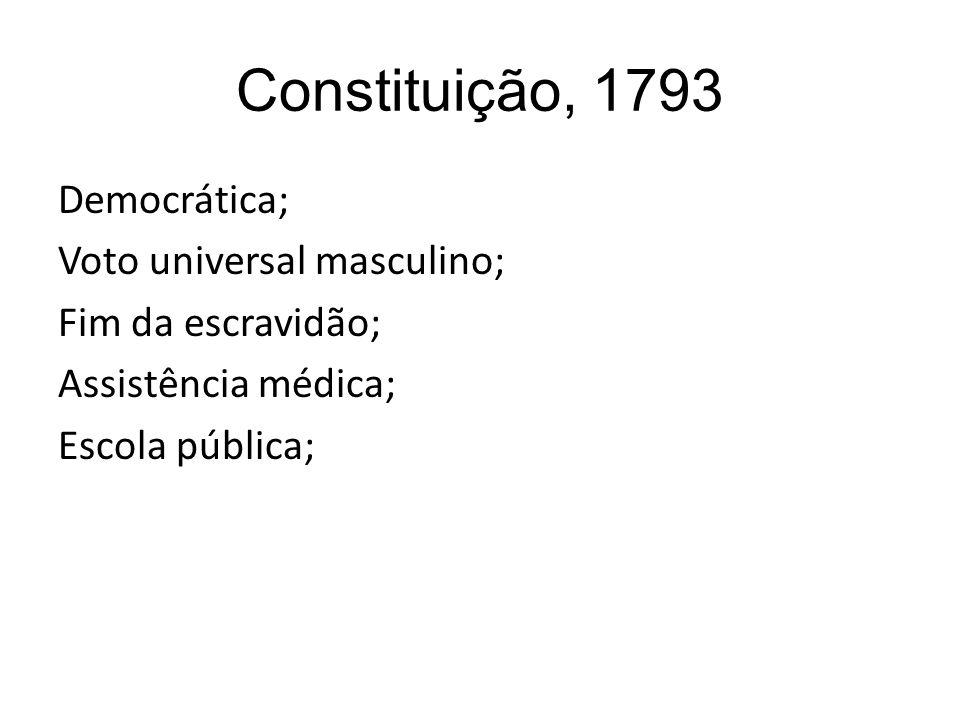 Constituição, 1793 Democrática; Voto universal masculino; Fim da escravidão; Assistência médica; Escola pública;