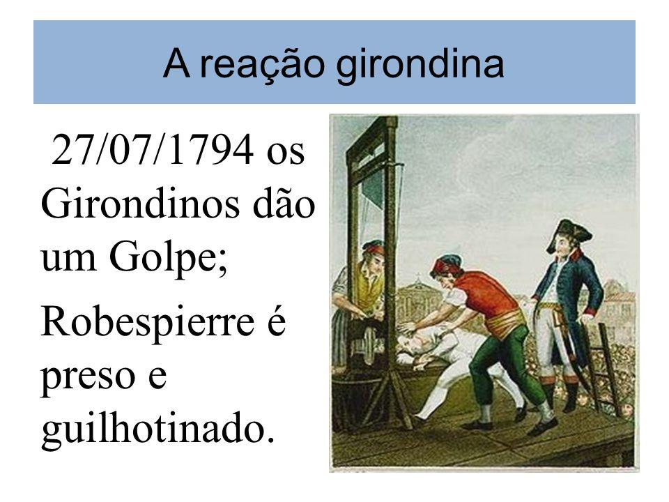 A reação girondina 27/07/1794 os Girondinos dão um Golpe; Robespierre é preso e guilhotinado.