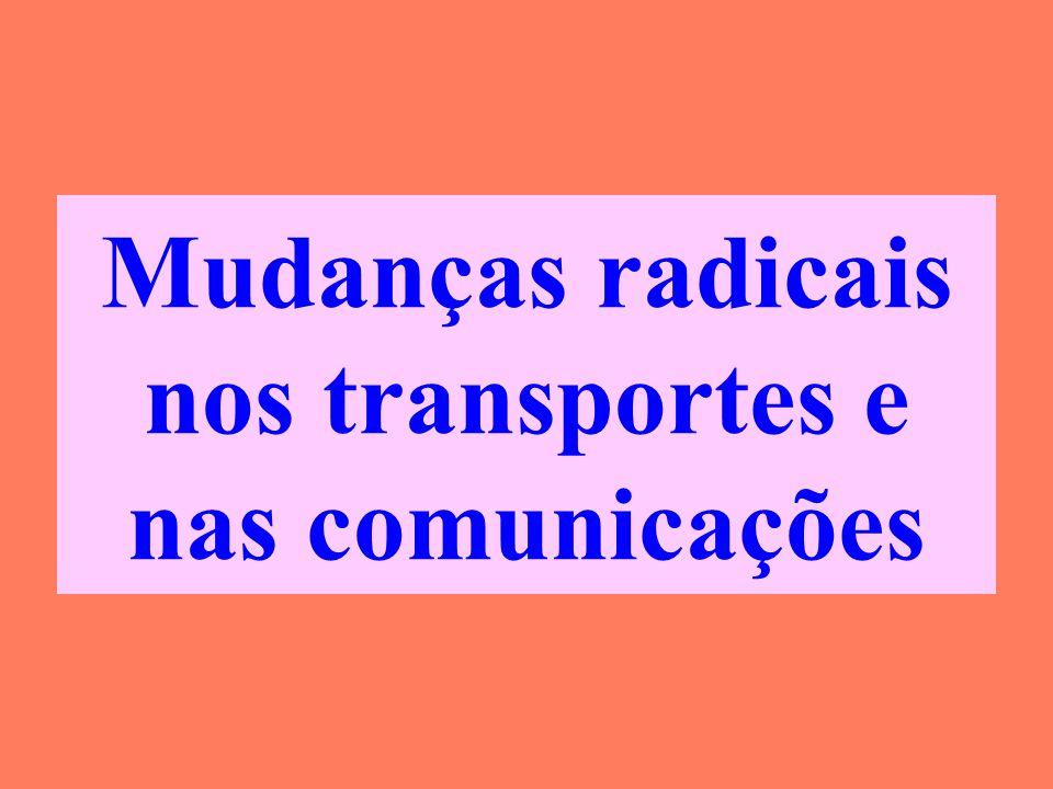 Mudanças radicais nos transportes e nas comunicações