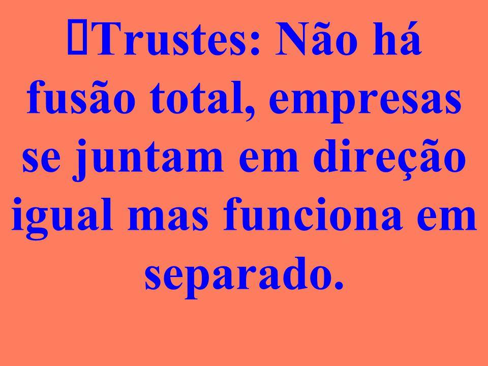 ØTrustes: Não há fusão total, empresas se juntam em direção igual mas funciona em separado.