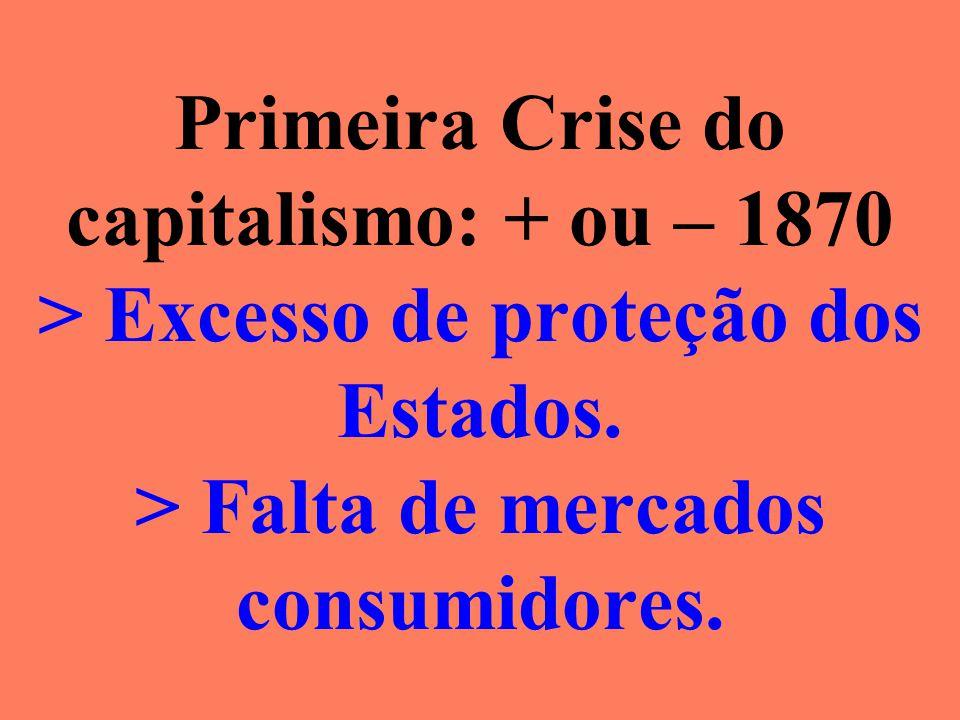 Primeira Crise do capitalismo: + ou – 1870 > Excesso de proteção dos Estados.