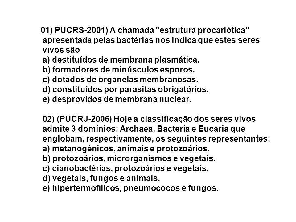 01) PUCRS-2001) A chamada estrutura procariótica apresentada pelas bactérias nos indica que estes seres vivos são a) destituídos de membrana plasmática.
